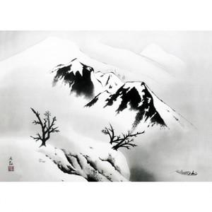 横山大観「寒江暮雪」【タペストリー】