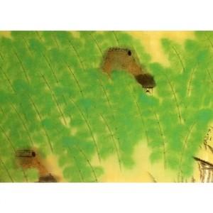 横山大観「洛中洛外雨十題・八幡緑雨」【タペストリー】