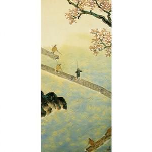 横山大観「春の水・秋の色(春の水)」【襖紙】
