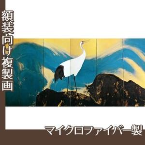 平福百穂「丹鶴青瀾(左)」【複製画:マイクロファイバー】