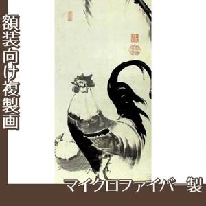 伊藤若冲「柳下双鶏図(双幅)」【複製画:マイクロファイバー】