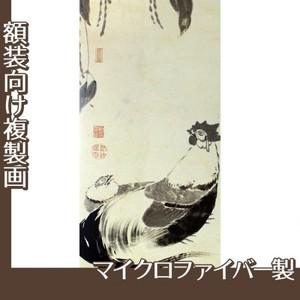 伊藤若冲「豆下双鶏図(双幅)」【複製画:マイクロファイバー】