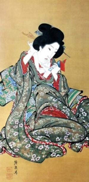 渓斎英泉「化粧を直す美人図」【襖紙】