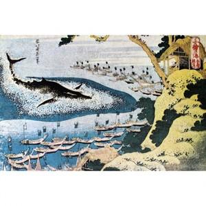 葛飾北斎「千絵の海 五島鯨突」【窓飾り】