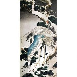 葛飾北斎「雪松に鶴」【窓飾り】