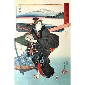 歌川広重「東海道五十三図会 藤沢・相洲江の嶋詣」【窓飾り】