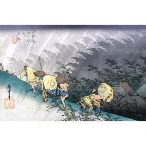 歌川広重「東海道五拾三次 庄野・白雨」【窓飾り】