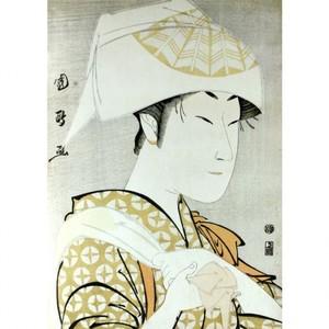歌川国政「二代目中村野塩の手拭いをかぶる女」【額装向け複製画】