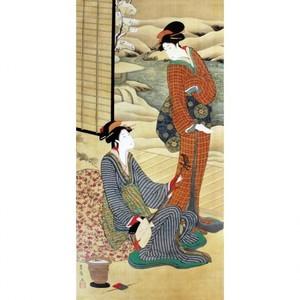 歌川豊広「音じめ合わせ美人」【窓飾り】