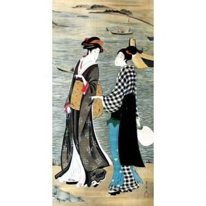 歌川豊広「河辺の納涼美人」【額装向け複製画】