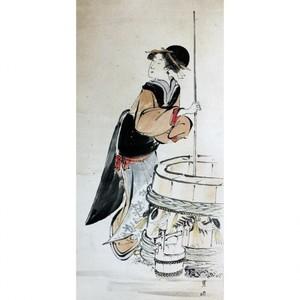 歌川豊国「美人若水汲み(部分)」【窓飾り】