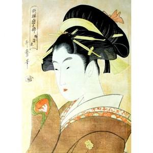 喜多川歌麿「歌撰恋之部 稀ニ逢恋」【額装向け複製画】