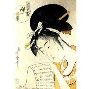 喜多川歌麿「五人美人愛敬競 兵庫屋花妻」【額装向け複製画】