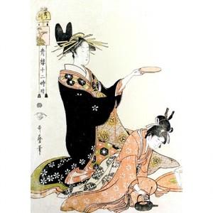 喜多川歌麿「青楼十二時 亥ノ刻」【額装向け複製画】