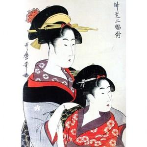 喜多川歌麿「竹芝二幅対」【窓飾り】