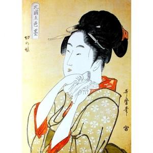 喜多川歌麿「北国五色墨 切の娘」【タペストリー】