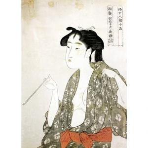 喜多川歌麿「婦女人相十品 煙草の煙を吹く女」【タペストリー】