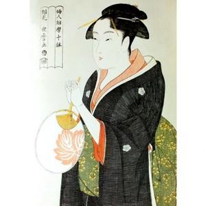 喜多川歌麿「婦人相学十躰 団扇を持つ女」【窓飾り】