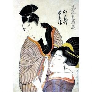 喜多川歌麿「風流愛興競 お千代 半兵衛」【窓飾り】