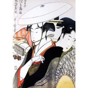 喜多川歌麿「風流四季の遊 弥生の江之島詣」【窓飾り】