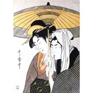 喜多川歌麿「相合傘」【額装向け複製画】