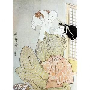 喜多川歌麿「母と子 高い高い」【タペストリー】