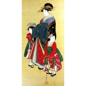 喜多川歌麿「遊女と禿図」【窓飾り】