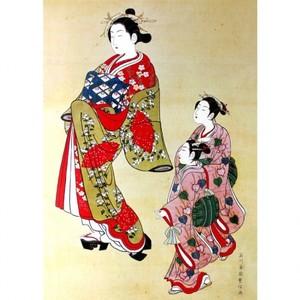 石川豊信「遊女と禿図」【額装向け複製画】