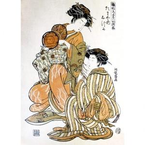 礒田湖龍斎「雛形若菜の初模様 たまや内しづか」【額装向け複製画】