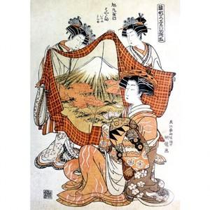 礒田湖龍斎「雛形若菜の初模様 旭丸屋内」【窓飾り】