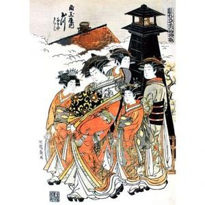礒田湖龍斎「雛形若菜の初模様 角玉屋内玉川」【タペストリー】