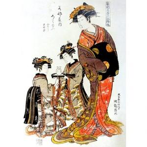 礒田湖龍斎「雛形若菜の初模様 若那屋内志らゆう」【タペストリー】