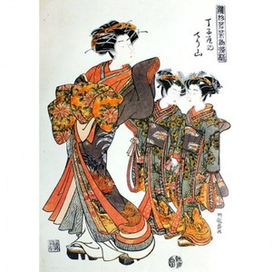 礒田湖龍斎「雛形若菜初模様 新金屋内かほる・おなじく江口」【タペストリー】