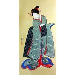 歌川国芳「振袖美人図」【額装向け複製画】