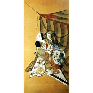懐月堂安度「蚊帳美人図」【額装向け複製画】