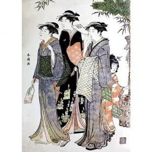 勝川春潮「羽子板を持つ美人図」【額装向け複製画】