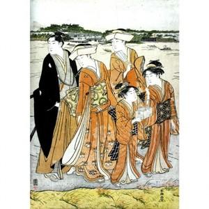 勝川春潮「三囲詣2」【額装向け複製画】