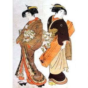 北尾重政「芸者と三味線箱を持つ女」【額装向け複製画】