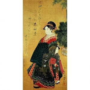 窪俊満「年始回礼の遊女と禿図」【障子紙】