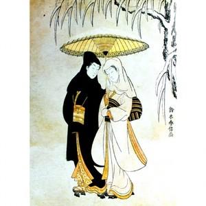 鈴木春信「雪中相合傘」【タペストリー】