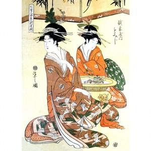 鳥文斎栄之「七賢人略美人新造揃 越前屋内もみじ」【窓飾り】