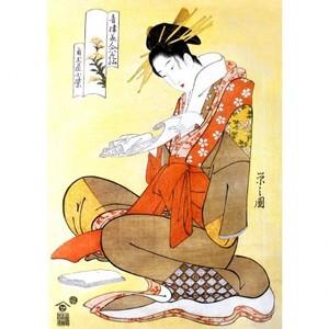 鳥文斎栄之「青楼美人六花仙 角玉屋小紫」【額装向け複製画】