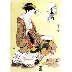 鳥文斎栄之「青楼美人六花仙 松葉屋喜瀬川」【額装向け複製画】