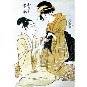栄松斎長喜「おきく幸助」【窓飾り】