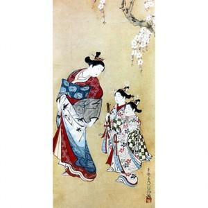 東艶斎花翁「桜下遊女と禿図」【襖紙】