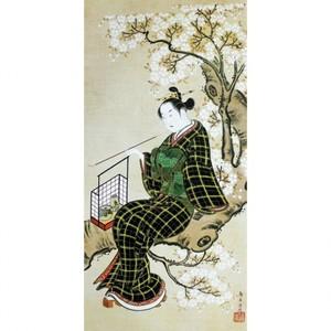 鳥居清忠「桜下美人図」【額装向け複製画】