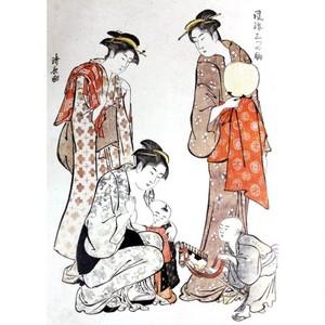 鳥居清長「風流三ツの駒 春駒」【タペストリー】