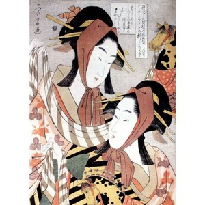 鳥高斎栄昌「春駒 難破屋おきたと高島おひさ」【窓飾り】