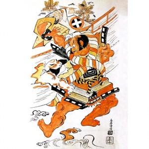 鳥居清倍「初代市川団蔵と初代大谷広次の草摺曳」【額装向け複製画】