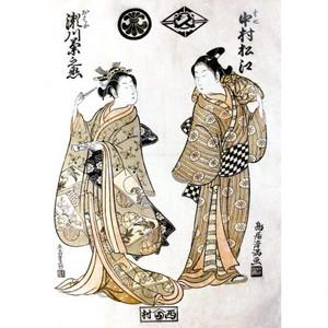 鳥居清満「初代中村松江の半七と二代目瀬川菊之丞のおはな」【窓飾り】